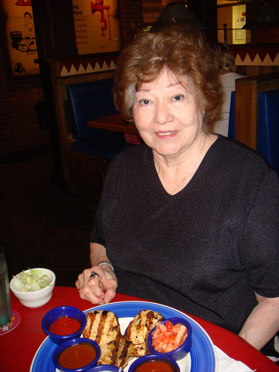 Virginia with a heart shaped dinner at On The Border ~ June 16, 2007