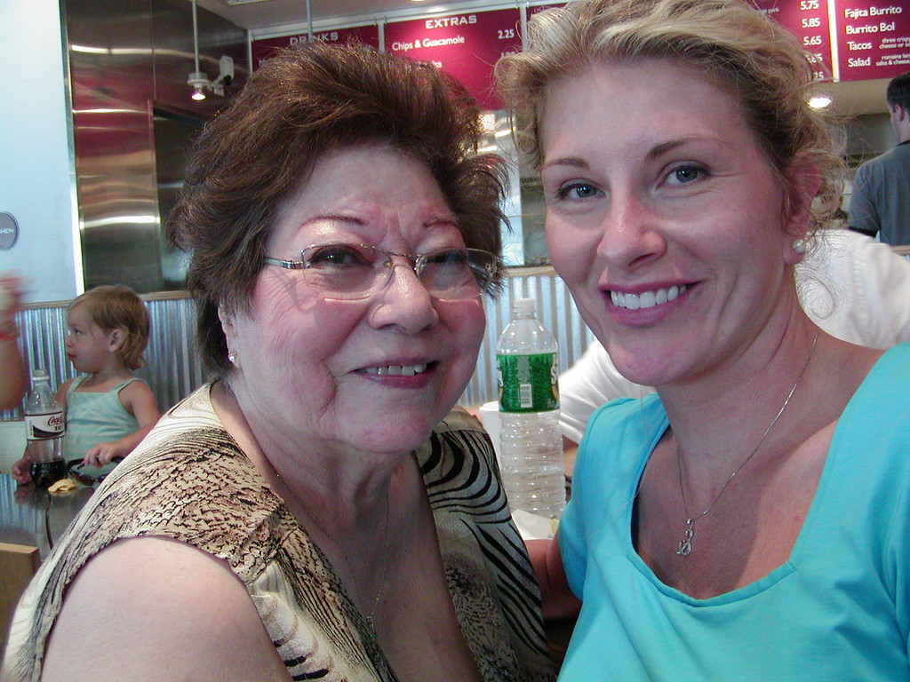 Virginia & Shari at lunch at Chipotle's in Washington, D.C.
