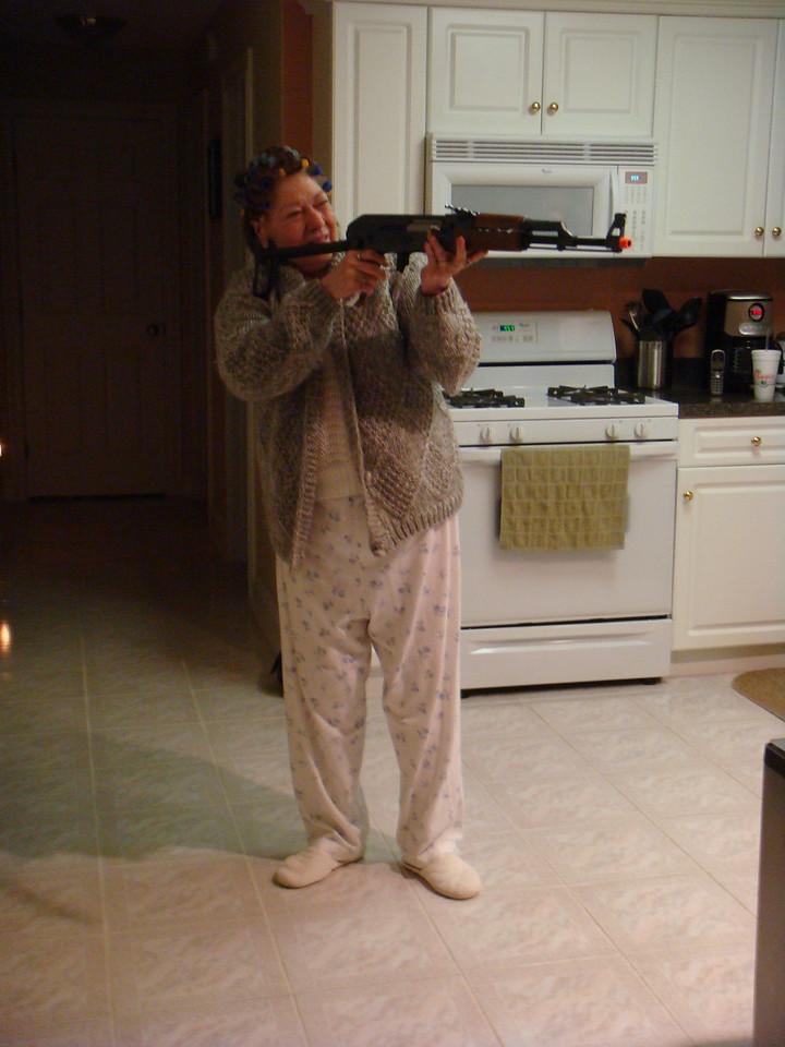 Grandma Jinny with Ry's new airsoft gun